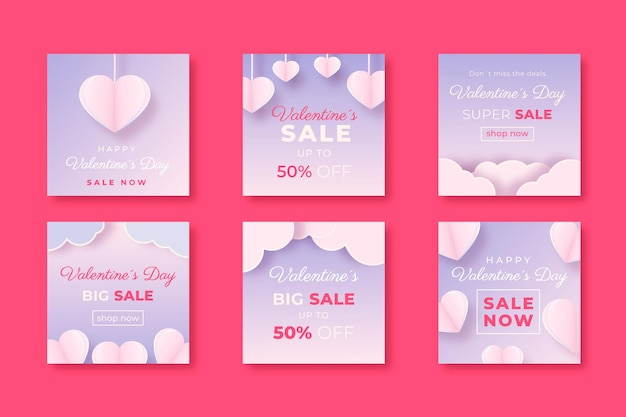 Valentine's day sale instagram posts collection on paper style