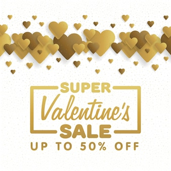 Valentine's day sale. lettering with hearts on the background. vector illustration.