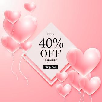 Valentine's day sale off background