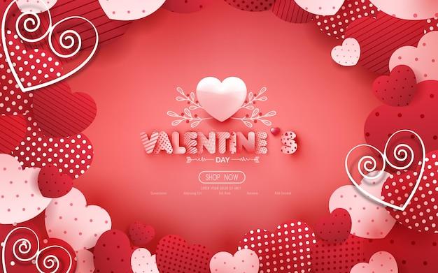 たくさんの甘い心と赤のポスターやバナーからバレンタインデーセール。