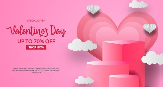 핑크 파스텔 배경으로 빈 무대 연단 제품 디스플레이와 발렌타인 데이 판매 제공 배너 서식 파일