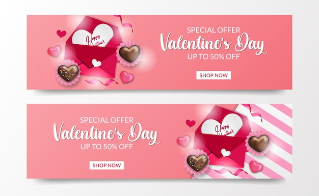 Valentine's day sale offer banner template with love letter and love chocolate cake top view illustration template
