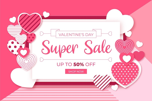 Valentine's day sale in paper style wallpaper
