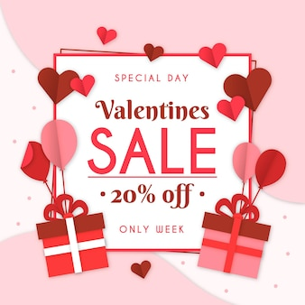 Valentine's day sale in paper style with gifts
