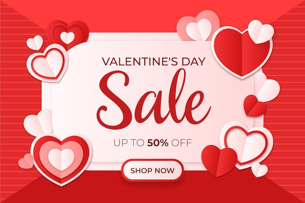 Valentine's day sale in paper style