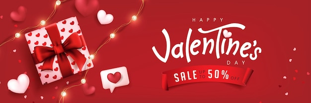 Valentine's day sale poster or banner red backgroud with gift box and heart.