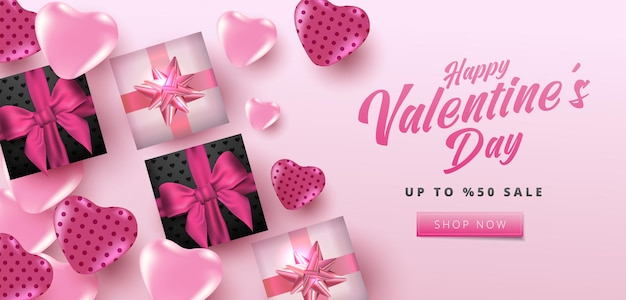 Valentine's day sale poster or banner with hearts and realistic gift box on soft pink background.