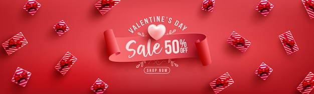Valentine's day sale poster or banner with sweet gift on red .promotion and shopping template or  for love and valentine's day