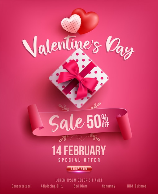 Valentine's day sale poster or banner with sweet gift,sweet heart and lovely items on pink .promotion and shopping template or  for love and valentine's day