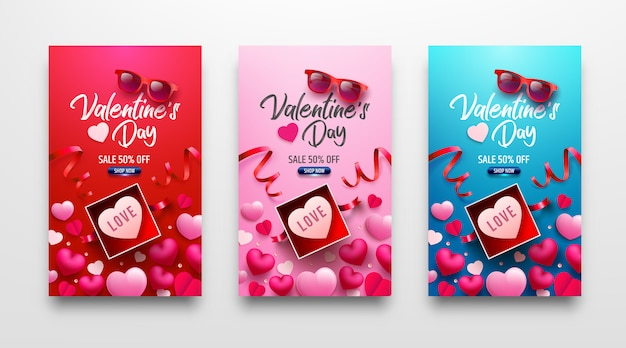 Valentine's day sale poster or banner with sweet gift,sweet heart and lovely items