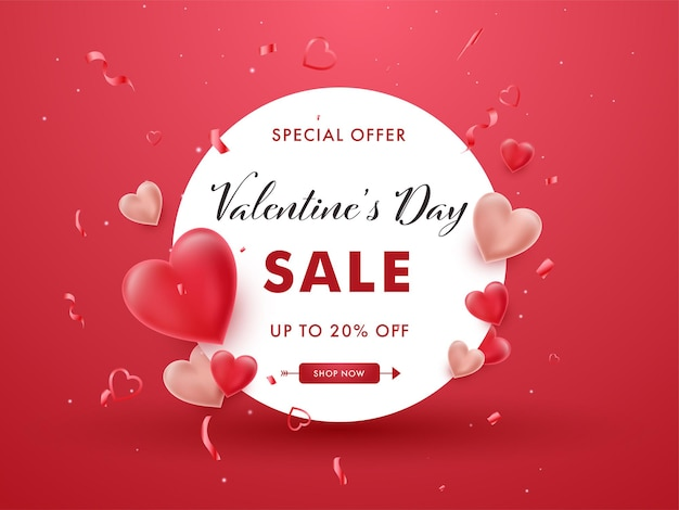 Valentine's day sale poster design with discount offer, confetti and glossy hearts on red background.