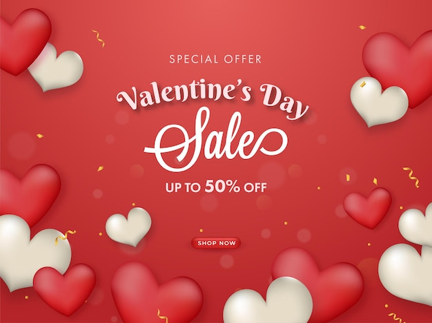 Valentine's day sale poster design with discount offer and glossy hearts decorated on red background.