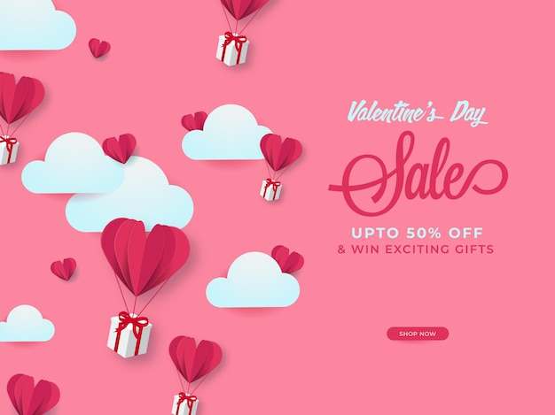 Valentine's day sale poster design with discount offer, paper cut heart balloons, gift boxes and clouds on pink background.