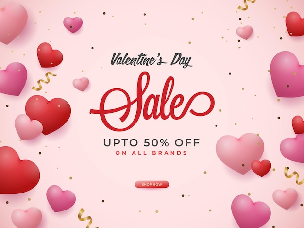 For valentine's day sale poster design with glossy hearts.