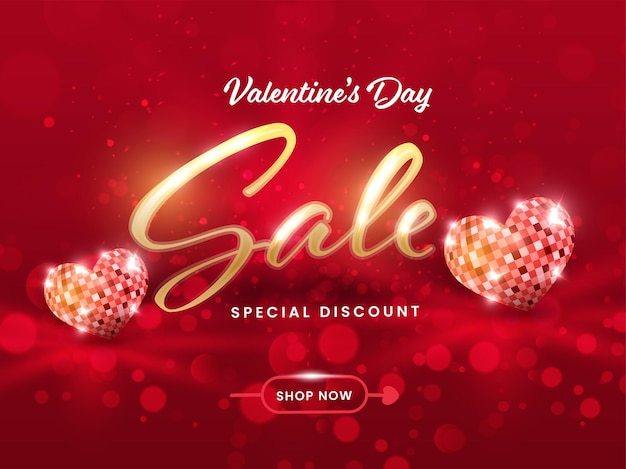 Valentine's day sale poster design with  heart shape disco ball on red bokeh background.