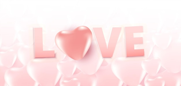 발렌타인 데이 판매 포스터 또는 많은 달콤한 마음과 부드러운 핑크 색상 하트 패턴 배경에 사랑 텍스트 배너.
