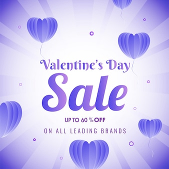 Valentine's day sale poster  with 60% discount offer and purple origami paper heart balloons decorated on glossy rays .