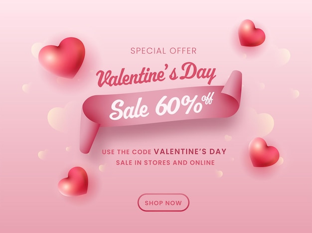 Плакат продажи дня святого валентина с предложением скидки и сердечками на глянцевом розовом фоне.