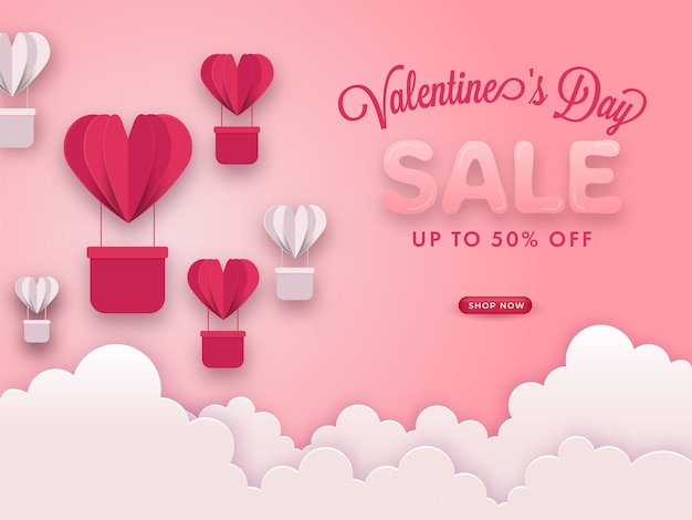 Valentine's day sale poster with discount offer, paper cut hot air balloons and clouds on pastel pink background.