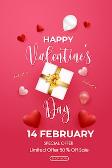 Valentine's day sale poster with gift box, hearts and balloons on pink background