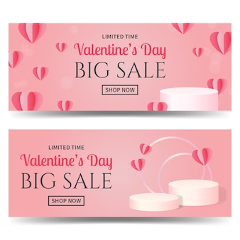 Valentine's day sale promo banner template decorated with realistic balloons