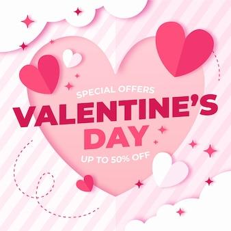 Promozione di vendita di san valentino in stile carta