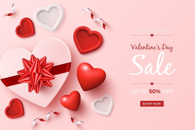 Valentine's day sale promo with realistic elements