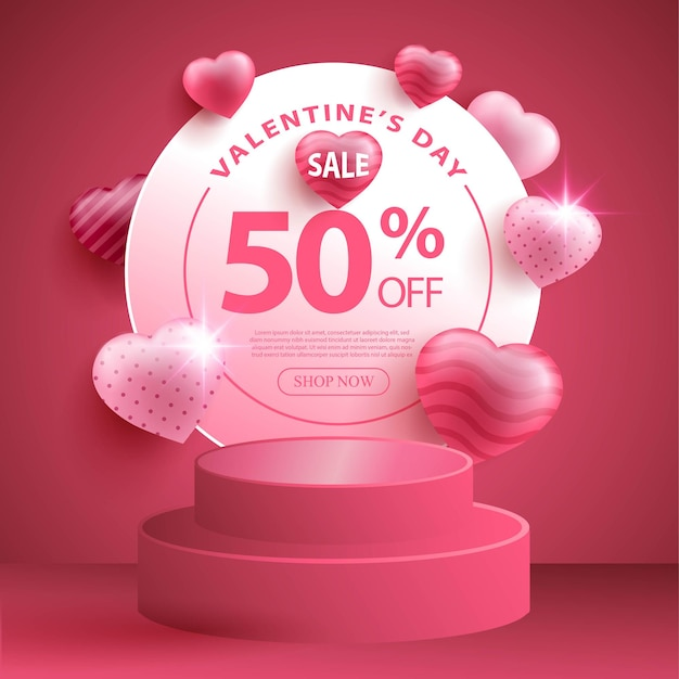 Banner di promozione della vendita di san valentino con focolare realistico o forma d'amore e podio 3d