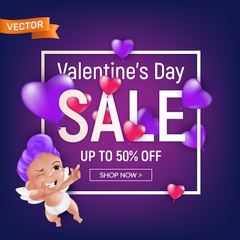 Valentine`s day sale purple banner design template with cute cartoon cupid with square frame.