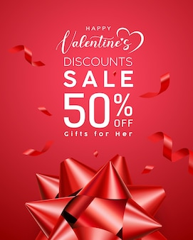 발렌타인 데이 판매, 빨간 리본.