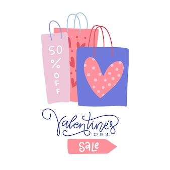 Valentine's day sale shopping bags with lettering and heart prints