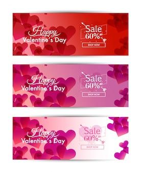 Valentine's day sale for social media banner template set. vector illustration