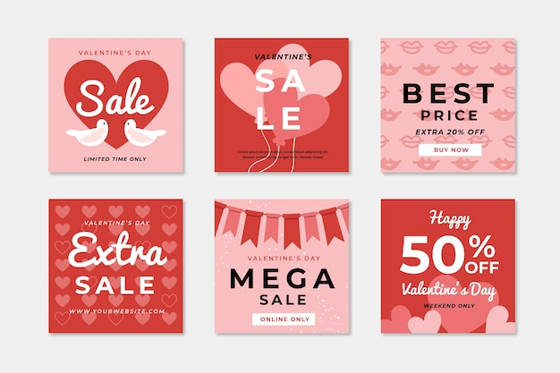 Valentine's day sale social media post collection