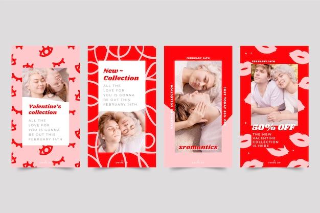 Набор историй в социальных сетях на день святого валентина