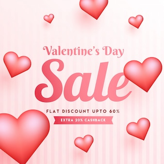 Valentine's day sale template or poster design with glossy heart