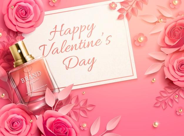 Шаблон продажи дня святого валентина с розовыми бумажными цветами и парфюмерным продуктом в 3d иллюстрации, вид сверху