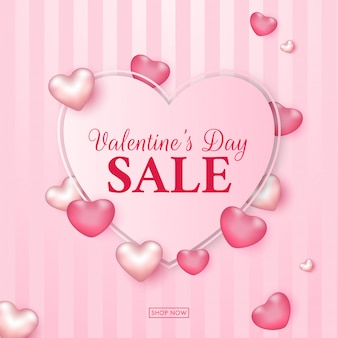 Valentine's day sale text in heart shape.