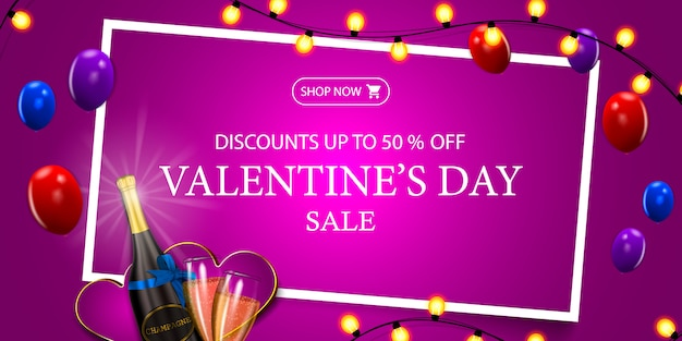 Valentine's day sale, up to 50% off, pink modern discount banner for valentine's day with garland