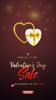 Valentine's day sale. vertical banner
