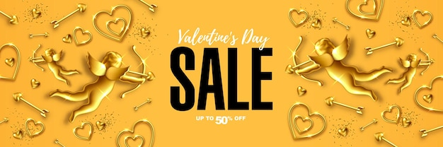 발렌타인 데이 판매 웹 배너 디자인