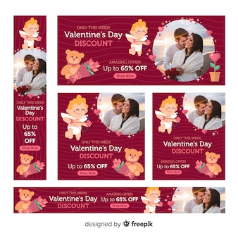 Valentine's day sale web banners