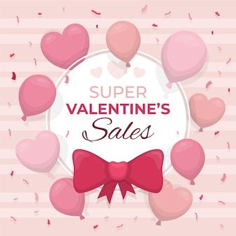 Valentine's day sale with balloons and hearts