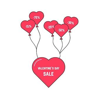 Распродажа ко дню святого валентина с летающим сердцем на воздушном шаре. концепция любви, веб-флаер, специальное предложение, онлайн-заголовок, промо-продажа. изолированные на белом фоне. плоский стиль тенденции логотипа дизайн векторные иллюстрации