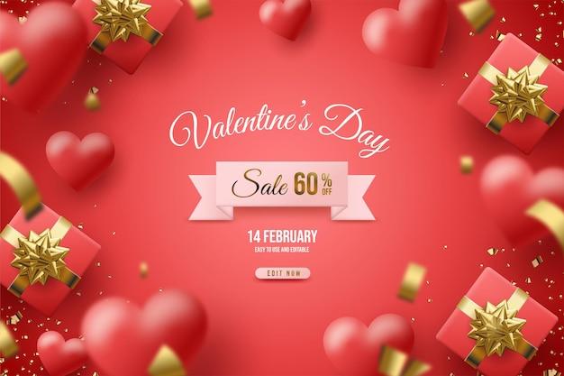 Распродажа ко дню святого валентина с подарочной коробкой и красными воздушными шарами.