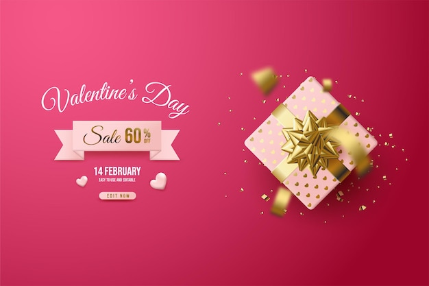 Valentine's day sale with  gift box on red background.