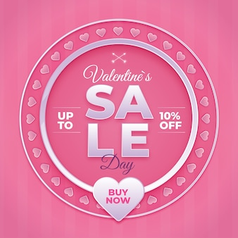 Valentine's day sale with hearts