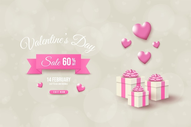 Valentine's day sale with illustration of white gift box and pink balloons.