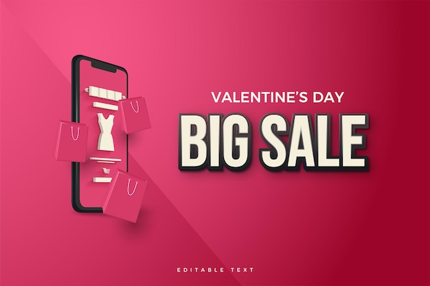 Valentine's day sale with illustrations of smartphones and shopping bags.