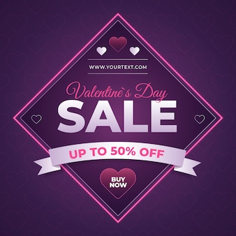 Valentine's day sale with neon