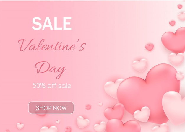 Valentine's day sale with  pink hearts